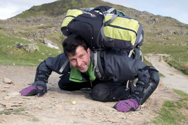 Stuart Kettell Pushes Brussell Sprout Up Snowdon with His Nose for Charity